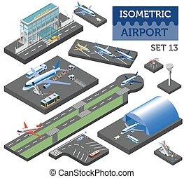3d isometric airport and city map constructor elements isolated on white. Build your own infographic collection. Vector illustration