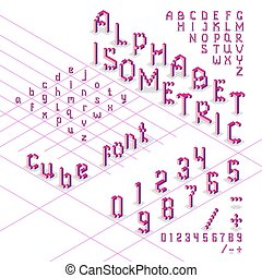 3d isometric alphabet font from cubes
