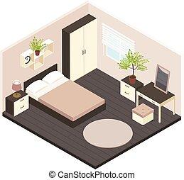 3d Isometric Bedroom Interior