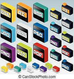 3d, isometric, bestand, type, icons., computergrafiek