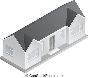 3d Isometric Bungalow - 3d isometric drawing of a double...