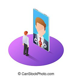 3d isometric businessman having video call with boss on...