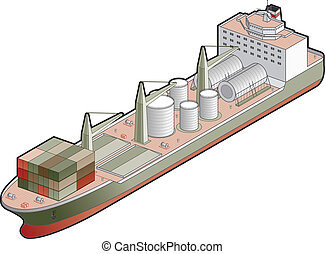 Cargo Ship - 3D Isometric Cargo Ship