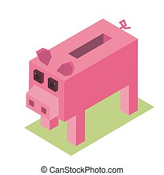 3d isometric cartoon pig vector pixelate farm animal illustration piggy moneybox