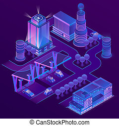 3d isometric city in ultra violet colors