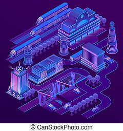 isometric city in ultra violet colors