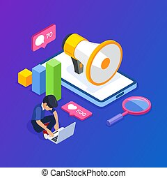 3d Isometric digital marketing concept. Man is engaged in promotion against the background of a megaphone and a mobile phone. Internet advertising. Can use for web banner, infographics, hero images