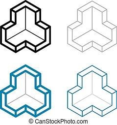 3D isometric empty room corner symbol