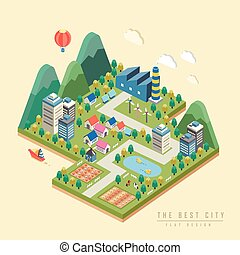 3d isometric infographic with lovely city
