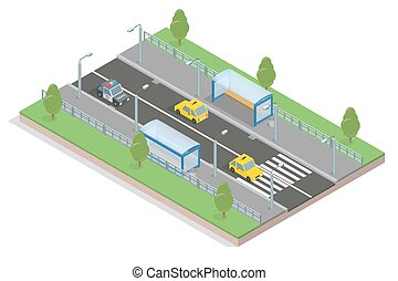 3d isometric Isolated on white background. stretch of road to the bus stop and machinery, lawn and trees, crosswalk and lampposts.