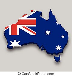 3d isometric Map of Australia with national flag.