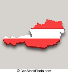 3d isometric Map of Austria with national flag.