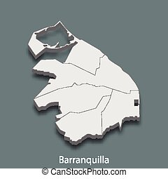 3d isometric map of Barranquilla is a city of Colombia, vector illustration