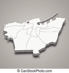 3d isometric map of Beirut is a Governorate of Lebanon, vector illustration