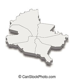 3d isometric map of Bucharest City is a Capital of Romania, vector illustration
