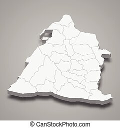 3d isometric map of Changhua County is a region of Taiwan, ...