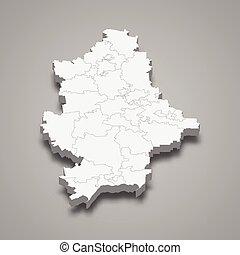 3d isometric map of Donetsk oblast is a region of Ukraine, vector illustration