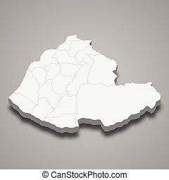 3d isometric map of Miaoli County is a region of Taiwan, ...