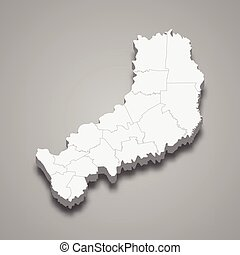 3d isometric map of Misiones is a province of Argentina
