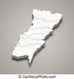 3d isometric map of Mount Lebanon is a Governorate of Lebanon, vector illustration