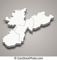 3d isometric map of Nabatieh is a Governorate of Lebanon, vector illustration
