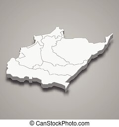 3d isometric map of North Governorate of Lebanon, vector illustration