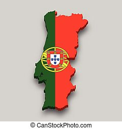 3d isometric Map of Portugal with national flag.