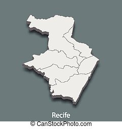 3d isometric map of Recife is a city of Brazil , vector illustration