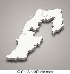 3d isometric map of South Governorate of Lebanon, vector illustration