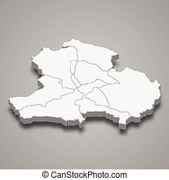 3d isometric map of Tbilisi is a region of Georgia, vector illustration