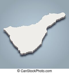 3d isometric map of Tenerife is an island in Canary Islands, isolated vector illustration