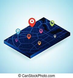 3D Isometric map with destination location point, Aerial clean top view of the day time city map with street and river, Blank urban imagination map, GPS map navigator concept, vector illustration