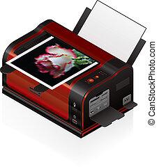 Laser Jet Printer - 3D Isometric Medium Home Color Photo ...