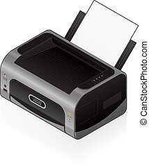 LaserJet Printer - 3D Isometric Medium Home Color Photo...