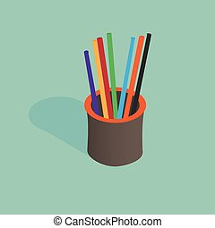 3d isometric pencil holder vector illustration with pencils
