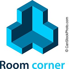 3D isometric room corner blue symbol