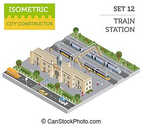 3d isometric Train station and city map constructor elements...