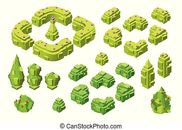 3D isometric trees and hedges vector illustration of plastic construction tree plants icons
