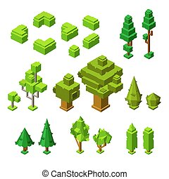 3D isometric trees vector illustration of plastic construction tree and hedges icons