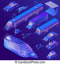 3d isometric ultra violet urban transportation