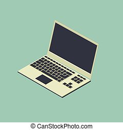 3d isometric vector illustration of laptop computer