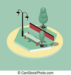 3d isometric vector illustration of park scene
