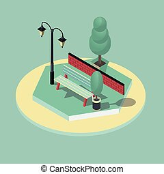 3d isometric vector illustration of park scene