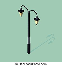 3d isometric vector illustration of street lamp