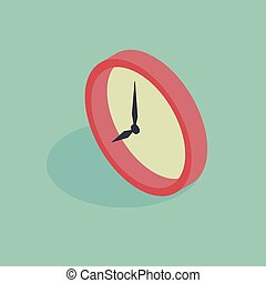 3d isometric vector illustration of wall clock