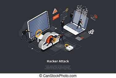3d isometric vector illustration, Phishing scam, hacker attack, mobile security concept, data protection, cyber crime. Vector illustration