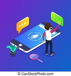 3d Isometric voice search concept. search for information ...
