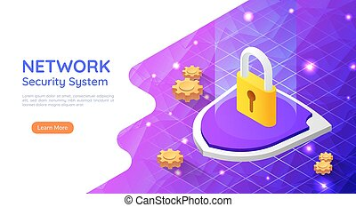 Isometric Web Banner Padlock with Keyhole Icon on Abstract Network Background