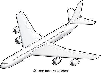 Airplane - 3D Isometric White Airplane
