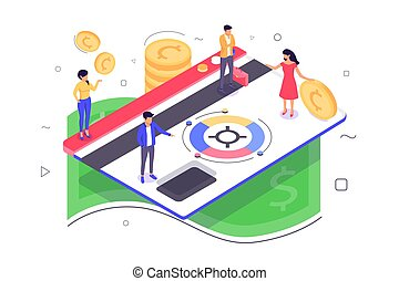 3d isometric young woman and man with money car service.